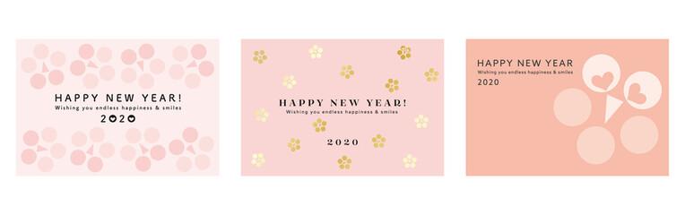 年賀状2020 梅の花 幾何学模様