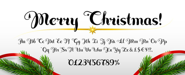 Inscription Merry Christmas! Set of handwritten uppercase and lowercase latin alphabet letters, numbers. White background with spruce branches, ribbon as decoration. Cursive font.