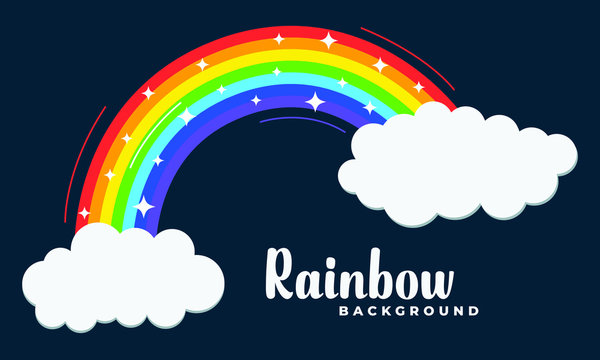 Rainbow with clouds. 7 colored rainbow spectrum with stars, lines, curves on dark background. Vector Illustration.
