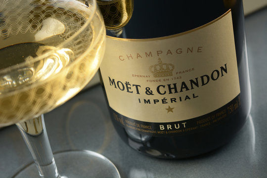 Bottle of Moët & Chandon. Moët & Chandon is one of the largest champagne producers in the world. Founded in 1743,