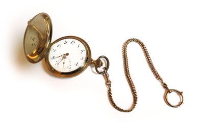 old retro vintage style golden savonette pocket watch with watch chain isolated on white background