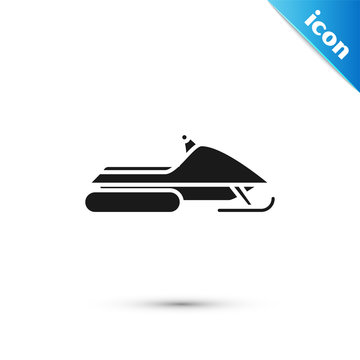 Black Snowmobile icon isolated on white background. Snowmobiling sign. Extreme sport. Vector Illustration