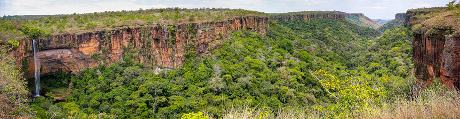 Panorama from top of cliffs in an opening valley in the late afternoon light, Chapada dos Guimarães, Mato Grosso, Brazil, South America