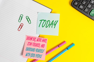 Text sign showing Dream Big Work Hard Stay Focused. Business photo showcasing Dream Big Work Hard Stay Focused And Surround Yourself With Good People Empty blue paper with copy space paper clips and