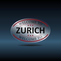 Welcome to Zurich Switzerland Glass framework. Vector illustration. Eps 10