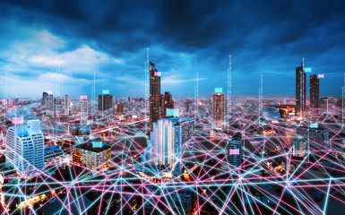 Wall Mural - Smart Network and Connection city of Bangkok