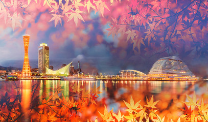 Aluminium Prints Orange Glow Double exposure of autumn leaf and Tokyo city