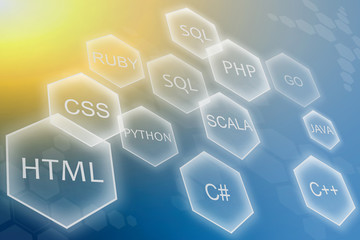 Programming language and development of applications concept on yellow blue background. Training courses of php, sql, html, css and other disciplines. Wall mural
