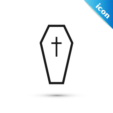 Black Coffin with christian cross icon isolated on white background. Happy Halloween party. Vector Illustration