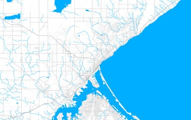 Rich detailed vector map of Duluth, Minnesota, USA