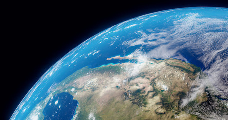 The Earth globe from Space. High Resolution Planet Earth view. 3d realistic render Illustration. Elements of this image are furnished by NASA.