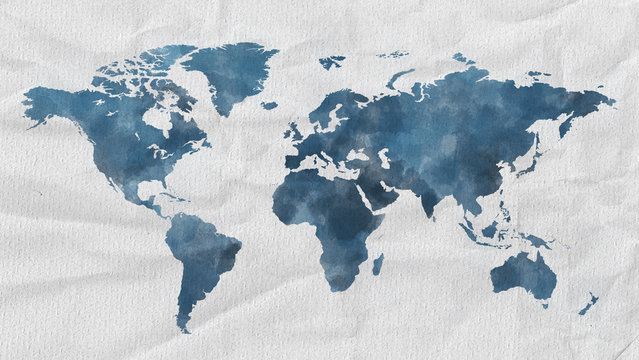 Watercolor world map blue with paper textur