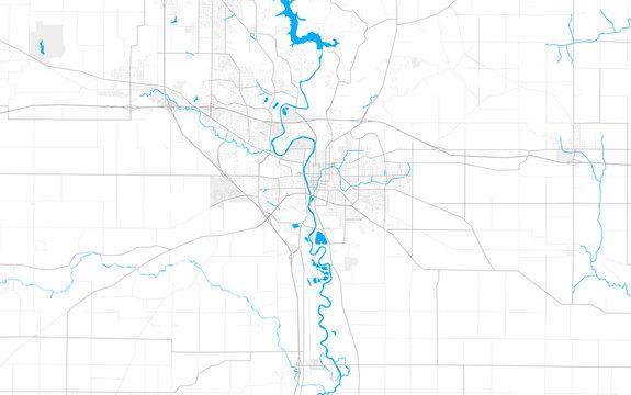 Rich detailed vector map of Iowa City, Iowa, USA