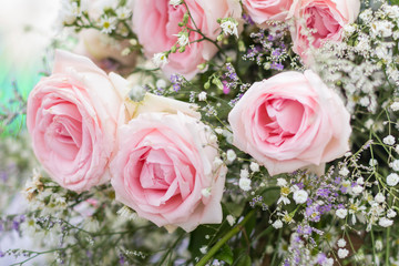Background of pink roses in wedding ceremony.