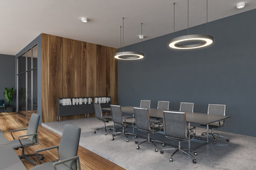 Gray and wooden conference room corner