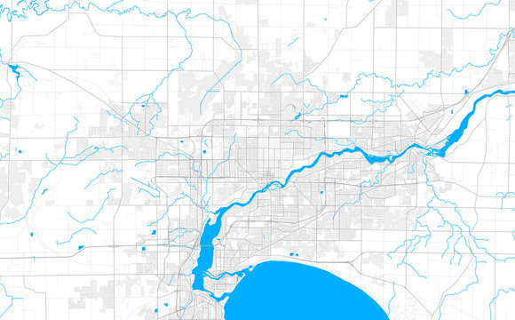 Rich detailed vector map of Appleton, Wisconsin, USA
