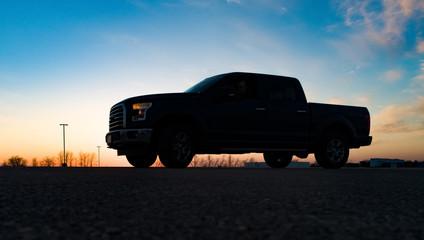 truck in the setting sun