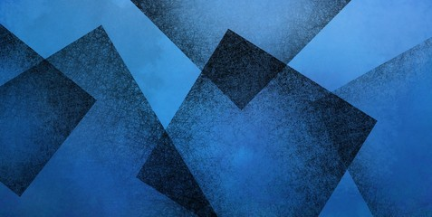 Abstract blue background with black geometric square shapes layered in random pattern, elegant dark blue and black wallpaper design that is modern and textured