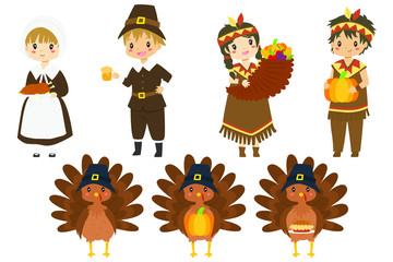 Cute Thanksgiving characters and turkeys vector collection. Thanksgiving pilgrim, native and cute turkey cartoon vector  Fotomurales