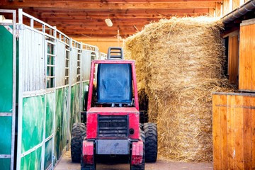 Straw in the stables. Tractor on the farm. Clean and warm stables
