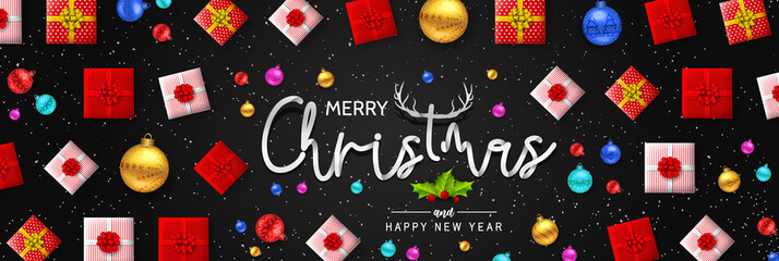 Merry Christmas and happy new year with Creative Christmas tree, fir branches, pine cones, gift boxes, holly, and string lights. Christmas greeting card vector design.