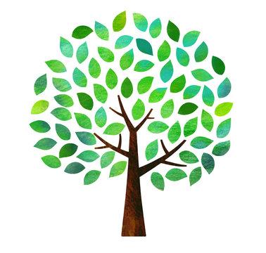 緑葉の木 テクスチャ(水彩色鉛筆)
