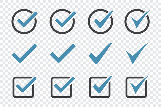 Set of check mark icon on a transparent background