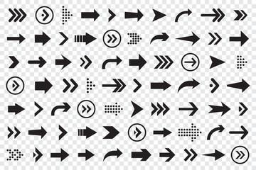 Set of arrows collection in black color on a transparent background for website design Fototapete