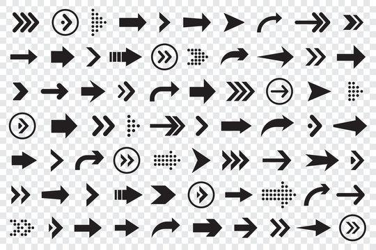 Set of arrows collection in black color on a transparent background for website design