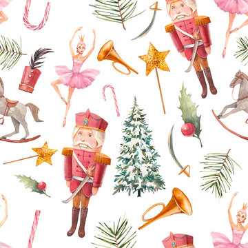 Watercolor Nutcracker tale seamless pattern. Christmas wallpaper in vintage style. Doll, wooden toys, fir, soldier on white background