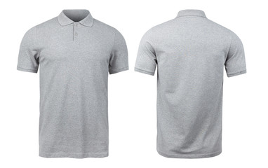Grey polo shirts mockup front and back used as design template, isolated on white background with...