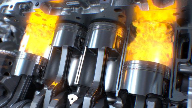 Piston ignition time of car engine, Car Engine inside, valves and crankshaft. 3d rendering.