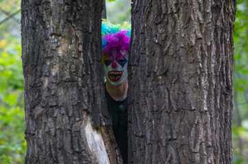 scary clown in a mystical forest