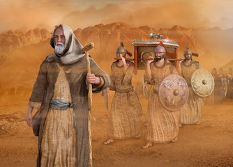 Moses leads the Isrealites through the desert Sinai Exodus