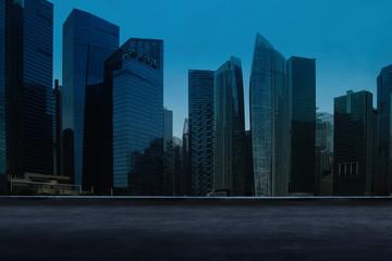 Fotomurales - Singapore urban cityscape skyline night scene with empty loft cement floor on front.