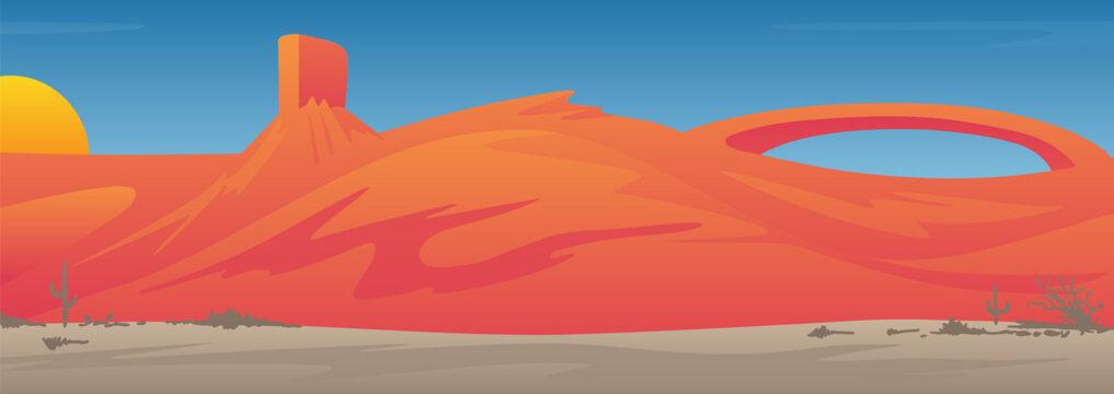 Beautiful Desert Valley Landscape Scene Vector Illustration