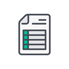 Document with spreadsheet color line icon. File with pivot table page vector outline colorful sign.