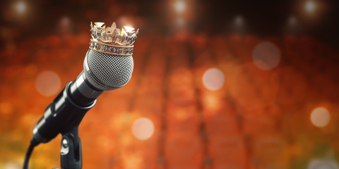 Microphone and king crown. Music award, concert of best singer, king of pop rock music concept background.