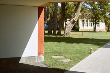 Casa das historias - Paula Rego Museum view. Summertime, green grass and sunny day