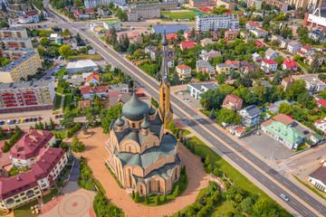 Obraz Widok z lotu ptaka na Białystok, Cerkiew Świętego Ducha, Antoniuk - fototapety do salonu