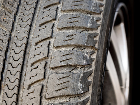Old, Worn and Cracked tire tread, Poor Drivability and High Risk of Traffic Accident