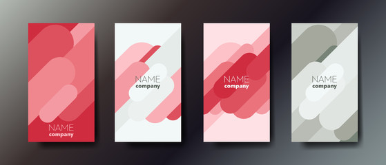 Set of three elegant abstract business cards with graphic elements and text.