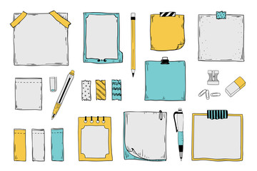 Doodle sticky notes. Notepad paper sheets and stickers with pen pencils and pins, colored graphic set. Vector hand draw paper sticky tags banners on white background