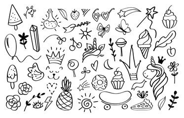 Doodle elements. Sketch decoration design templates for invitation and greeting cards. Vector image hand drawn crown stars and arrows for tattoo element and shape graffitti art