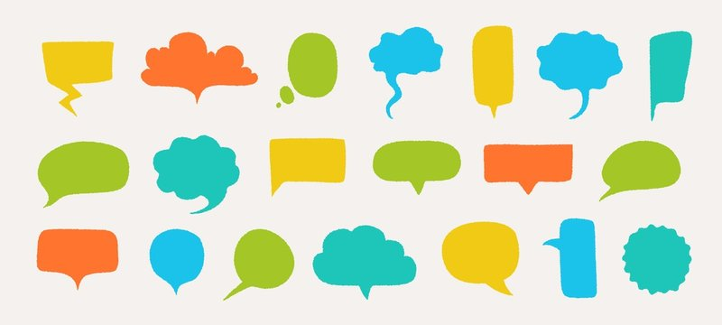 Hand drawn speech bubbles. Doodle text shapes elements with rough edges and noisy grunge texture. Vector illustration isolated set abstract gossip comment tag