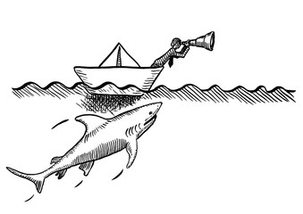 Drawn Visionary In Boat Being Stalked By Shark