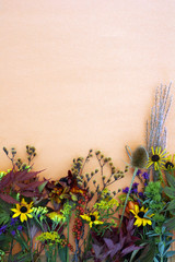 Vertical flat lay of fall-colored leaves on orange background, seedheads, and flowers, and berries, with copy space