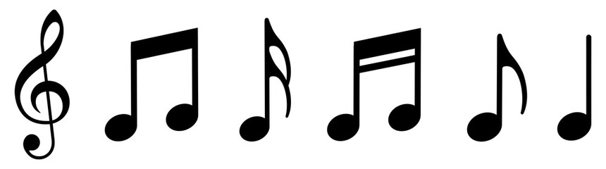 Music notes icons set. Vector illustration Fotobehang