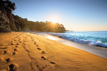 Fototapete - Sand beach at sunrise
