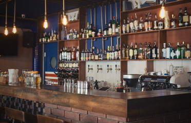 Cozy image of empty wooden bar or pub
